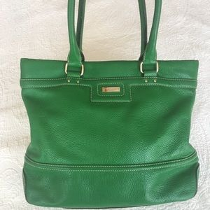 Kate Spade green pebbled leather tote bag